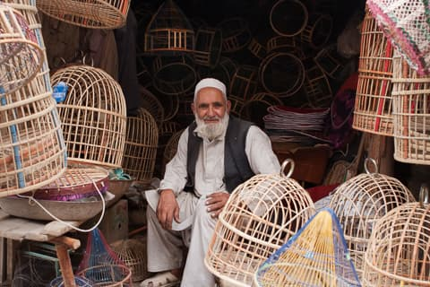 A man surrounded bird cages in Ka Faroshi bird market, Kabul