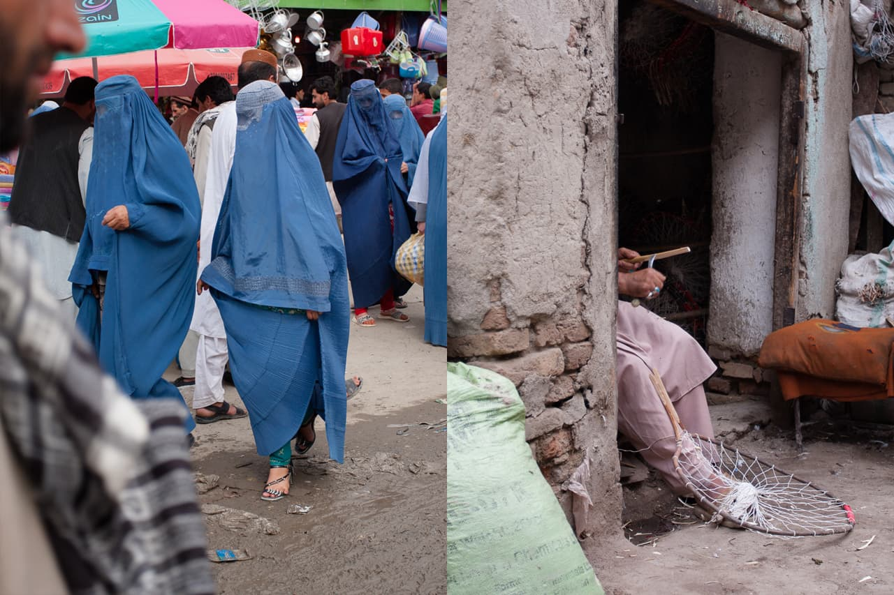 Left: burqa-clad women in high heels cross a muddy street, a man whittling a stick to make a net in a doorway