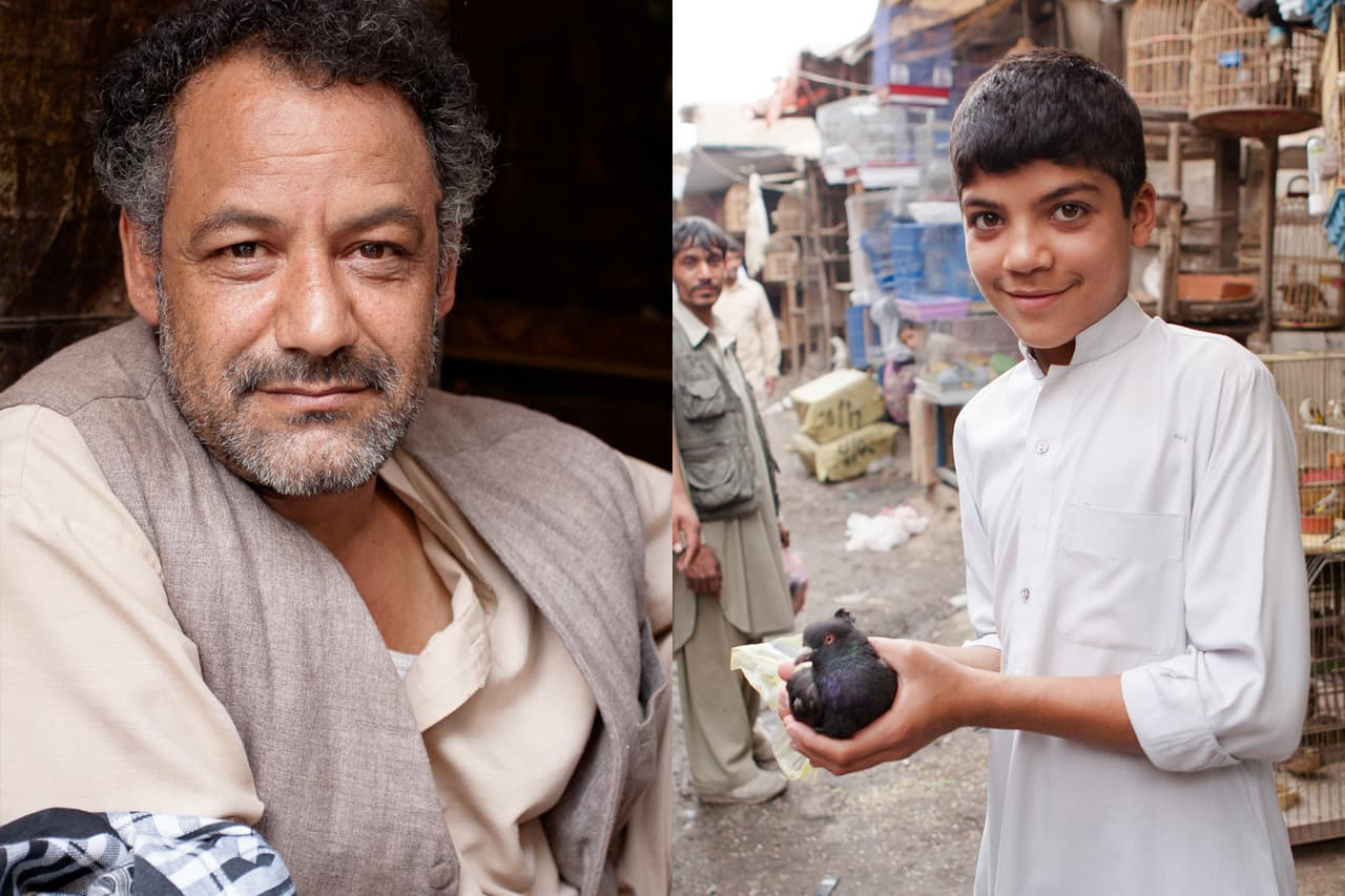 Left: a portrait of a salesman, right: A young boy in white holding a dove