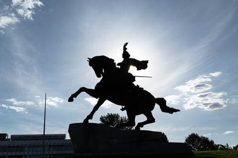 Statue of Alexander Suvorov on a horse in Tiraspol