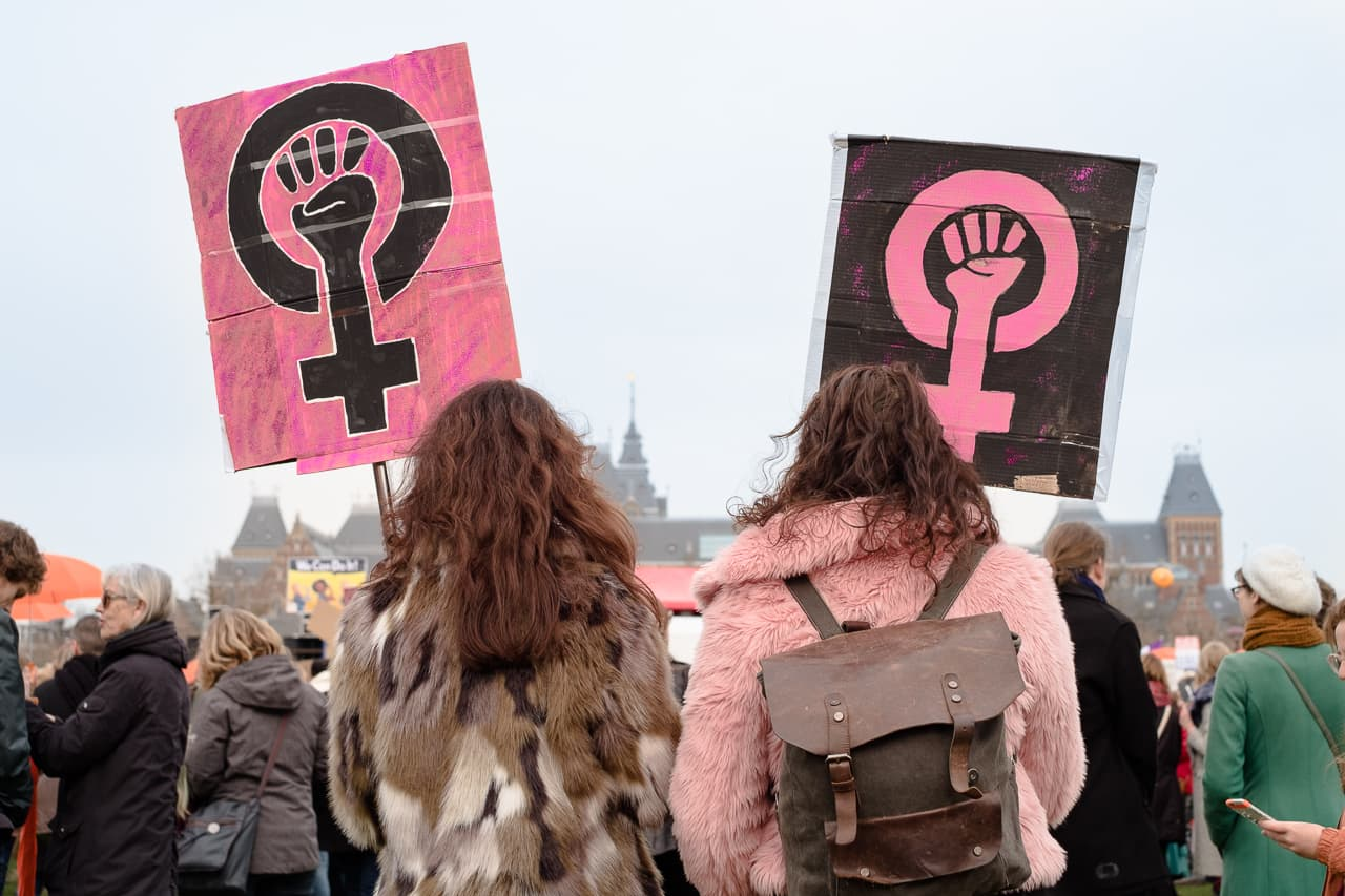 Two women, seen from the back, wearing faux fur coats with pink and black feminist signs